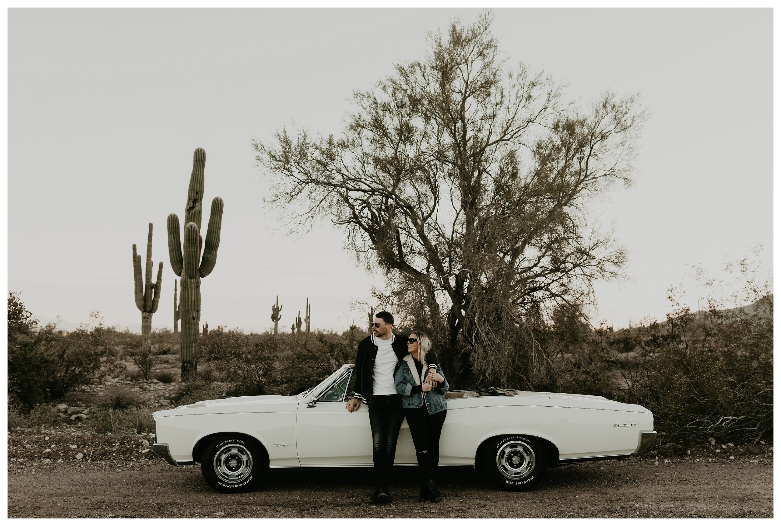 Desert engagement shoot with a vintage car