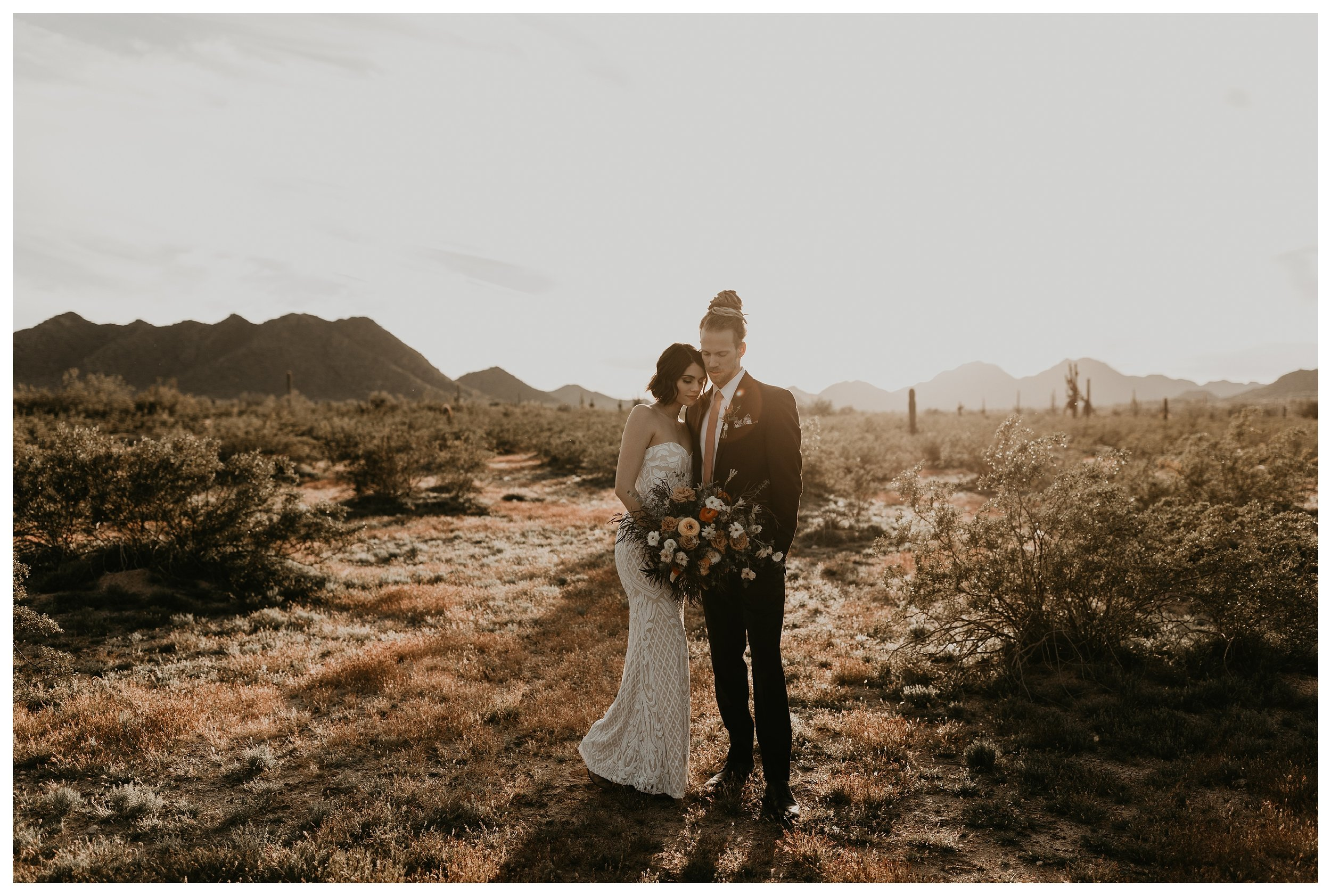 Golden hour bride and groom photos in the Arizona desert with a sequin strapless dress