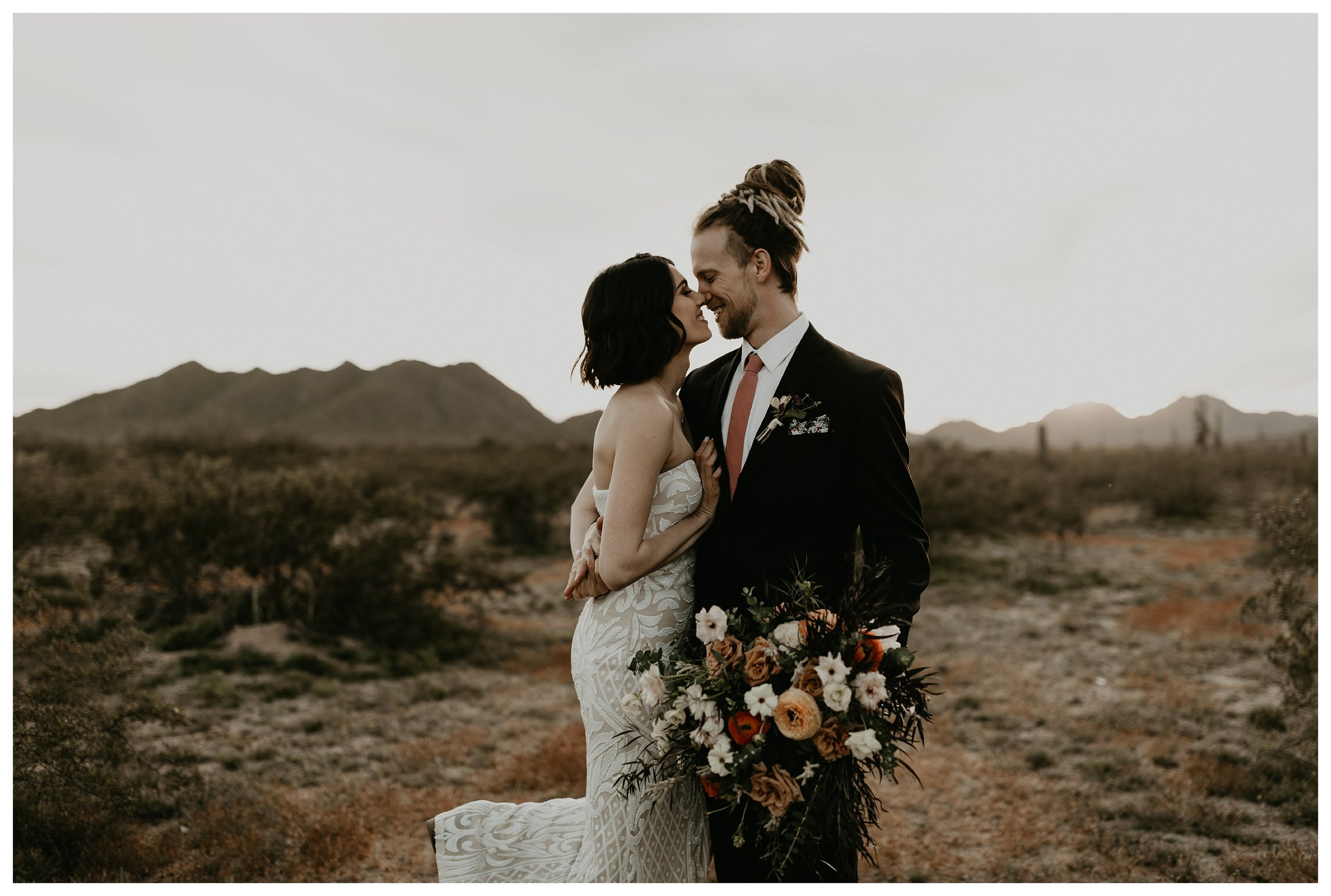 desert boho elopement in the Arizona desert bride and groom portraits