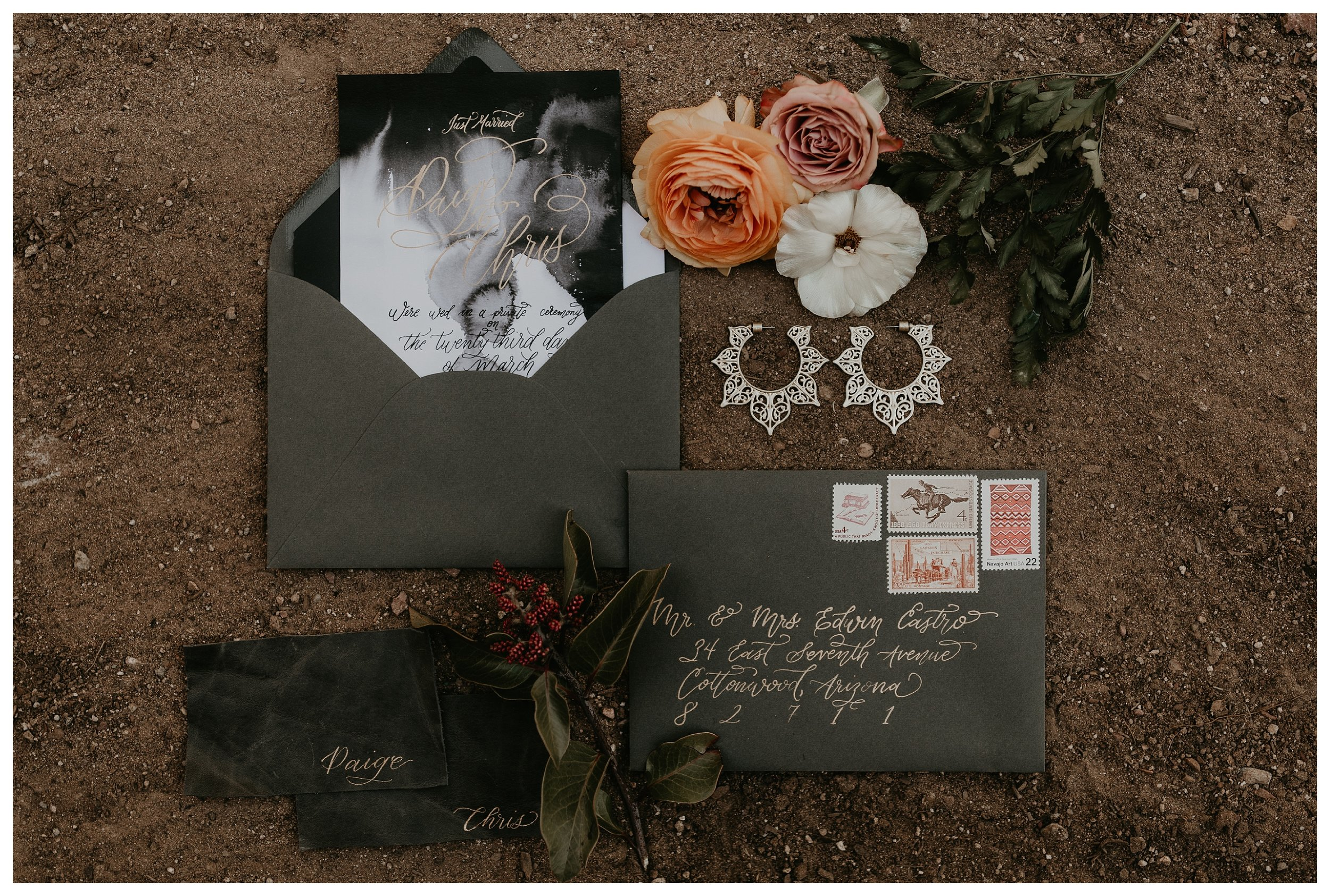 Elopement save the dates with marble wedding invitation and leather name cards