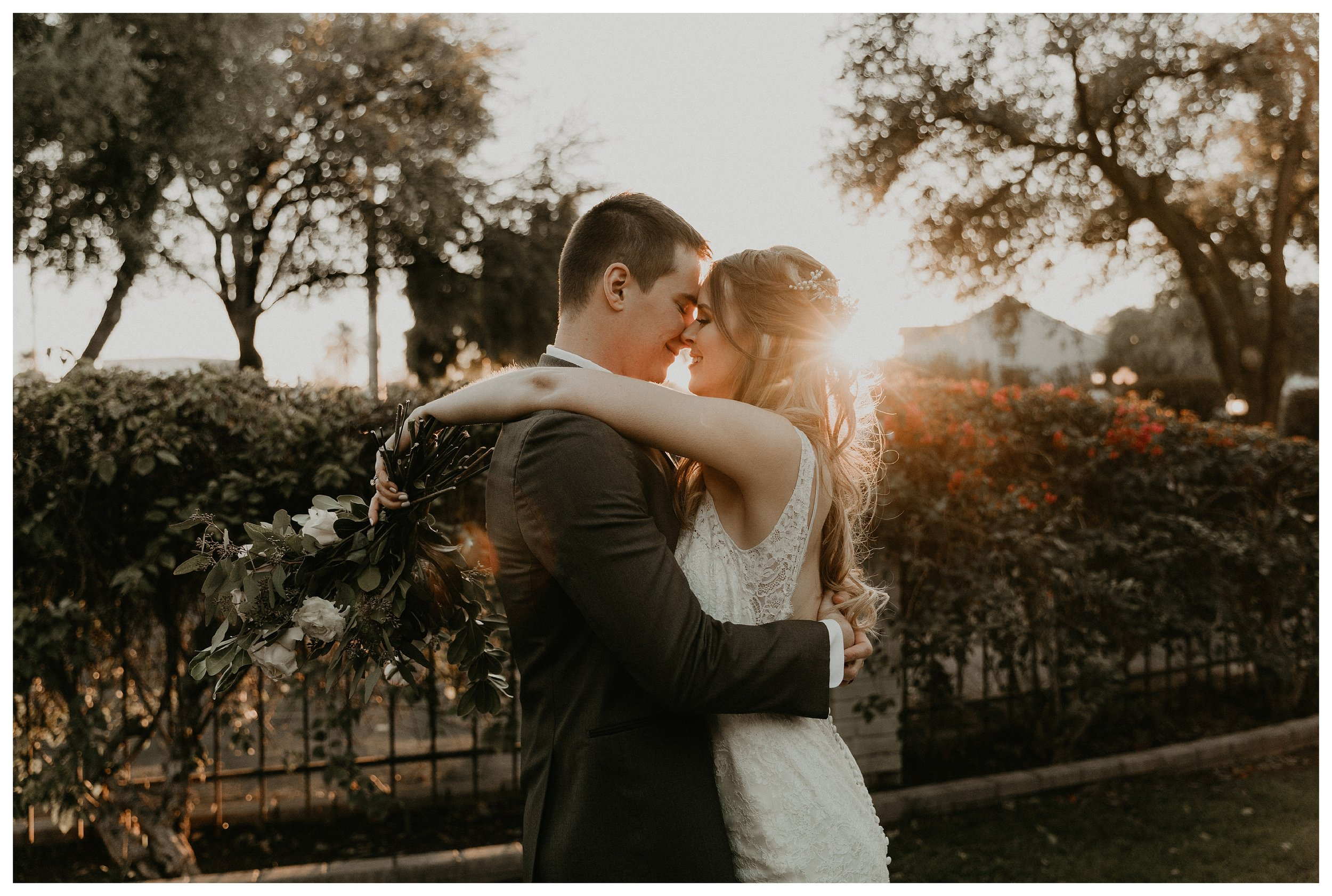 The wright house wedding during golden hour