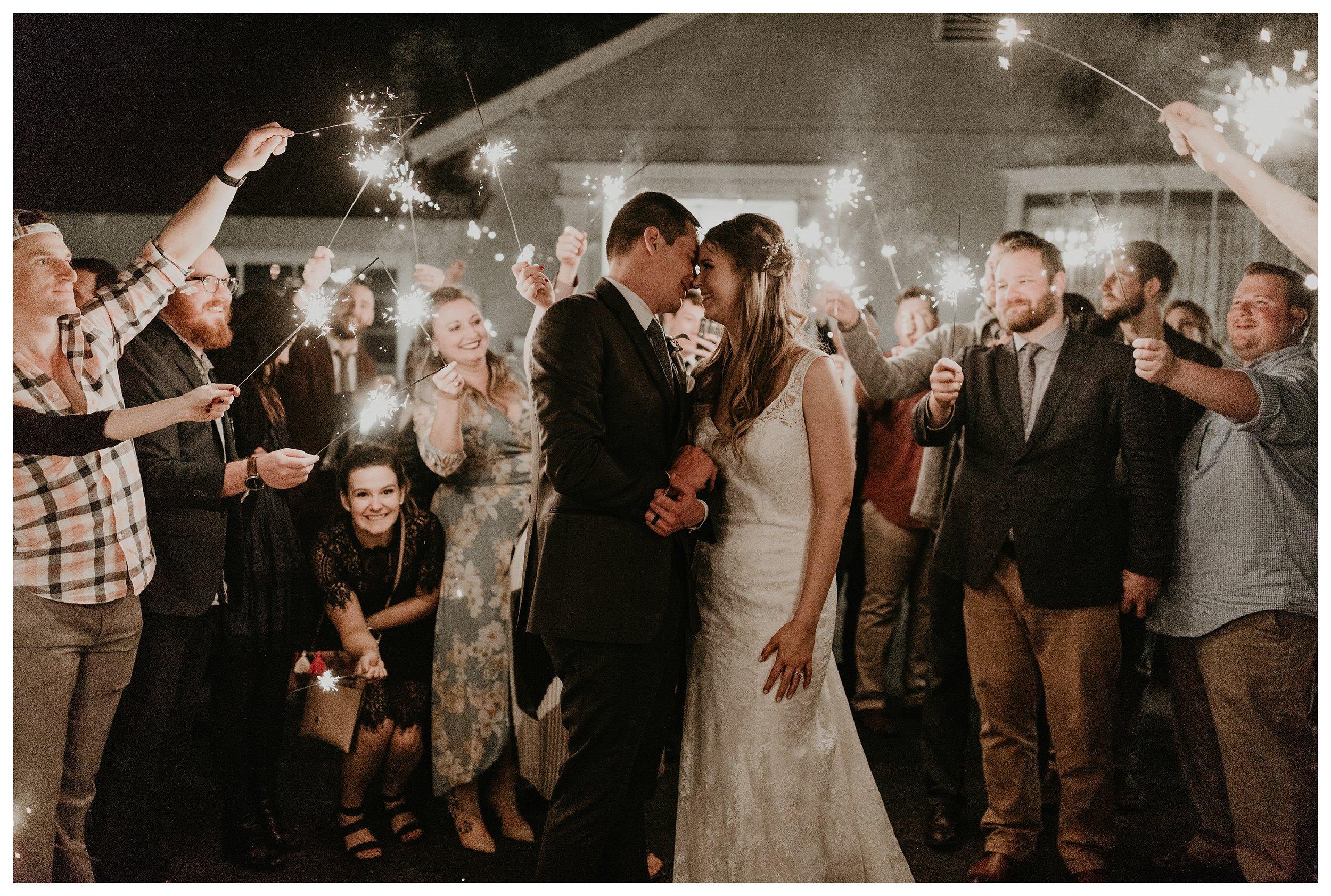 Wright house wedding sparkler exit