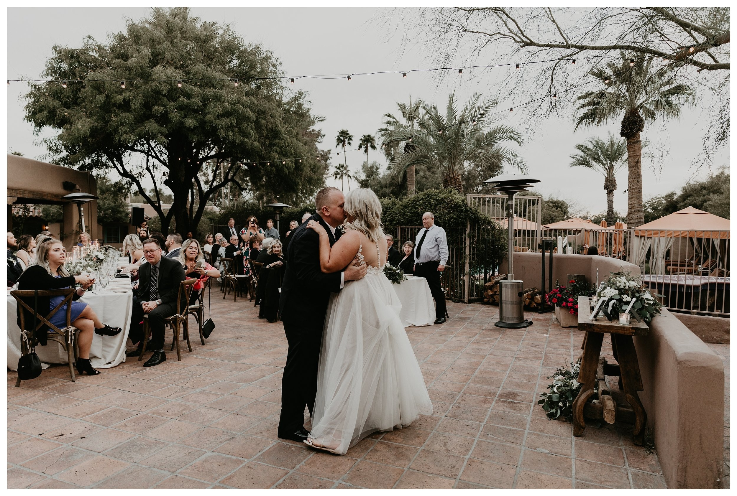 First dance at Hermosa Inn wedding in Arizona during romantic reception at sunset
