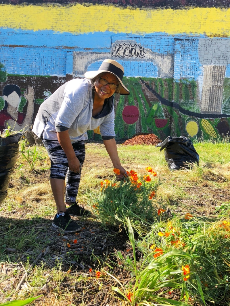 A volunteer pulls weeds from out front of the Main Street mural