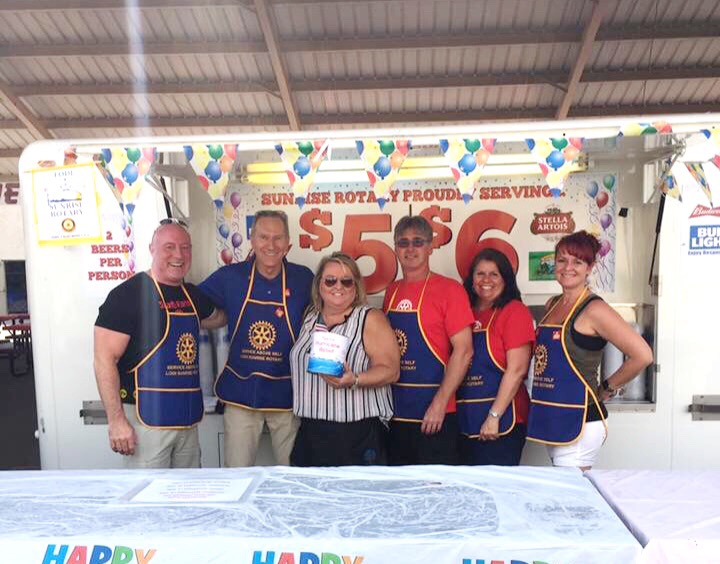 Lodi Sunrise Rotary at their Beer Booth. Photo from  Lodi Sunrise Rotary Facebook.