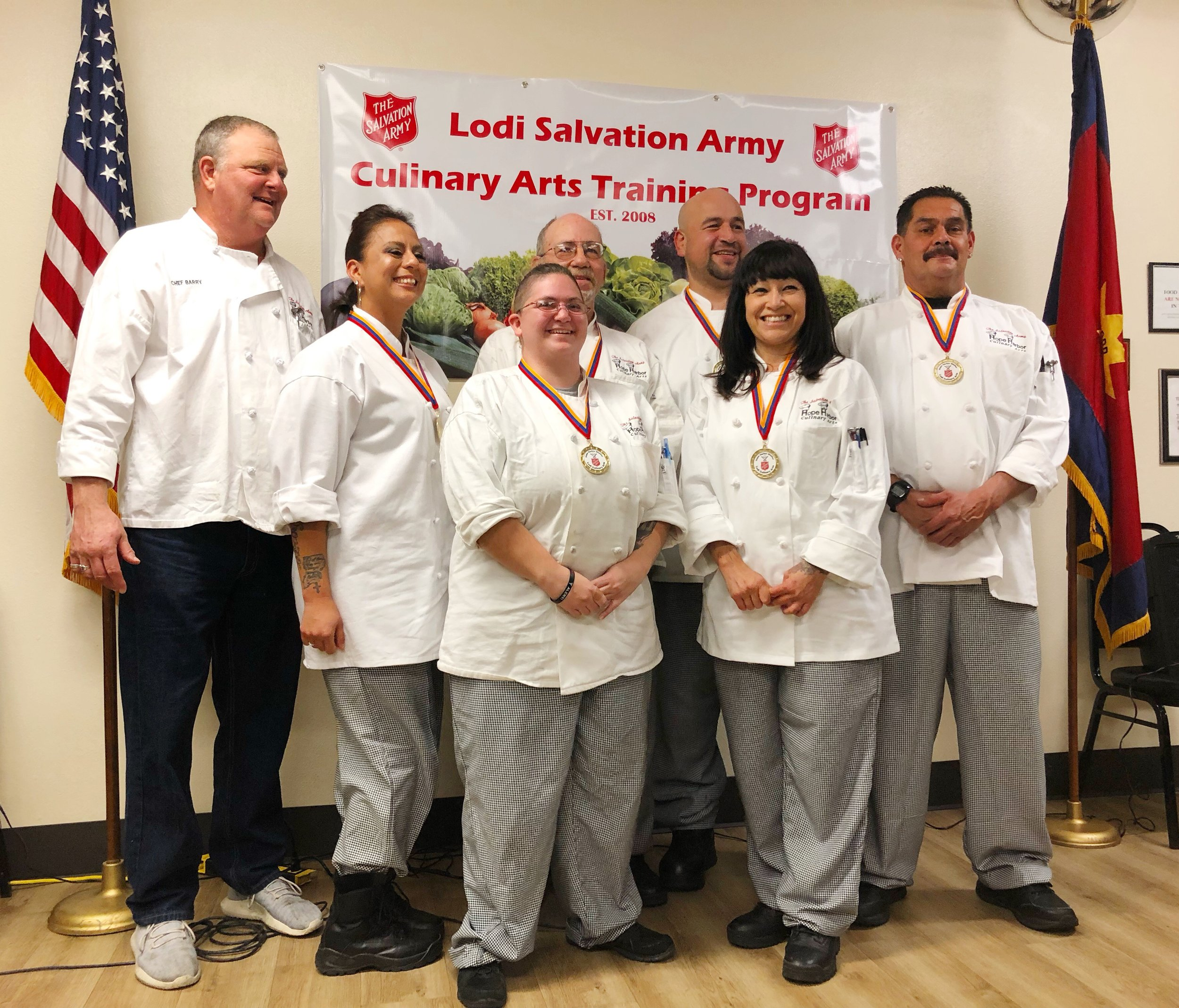 Proud Culinary Graduates with Chef Barry