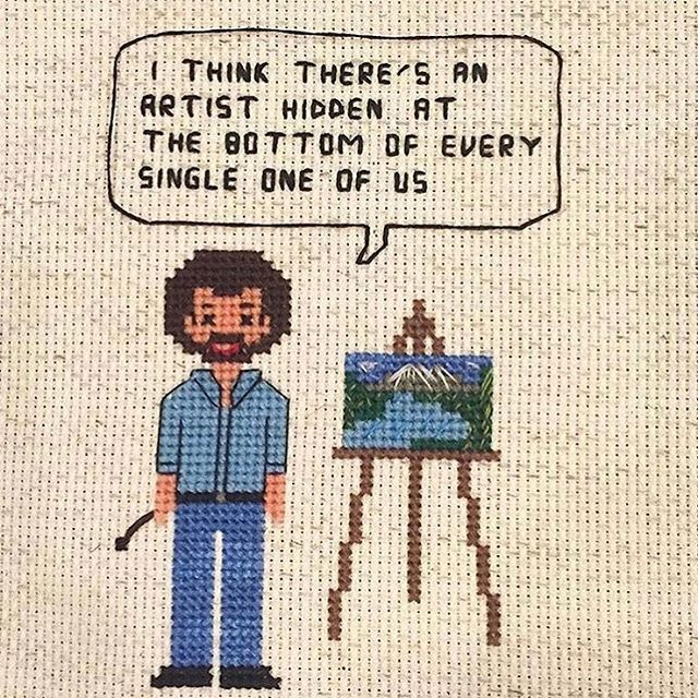 Guess what?! FREE #BobRoss cross stitch pattern on my website. Go download it and get vibing with your inner artist. Stitch some happy little tree fan art. Snuggle a wild animal. There are no mistakes just happy accidents. Spend your weekend making something! Everyone is an artist. ————————- #bobross #badasscrossstitch #thejoyofpainting #fanart #stitchersofinstagram #crossstitch #crossstitchpattern #craftivist #craftivism #painting #art #artist #happylittletrees #artisforeveryone #lifegoals #free #diy #aida #embroidery #fiberartforall