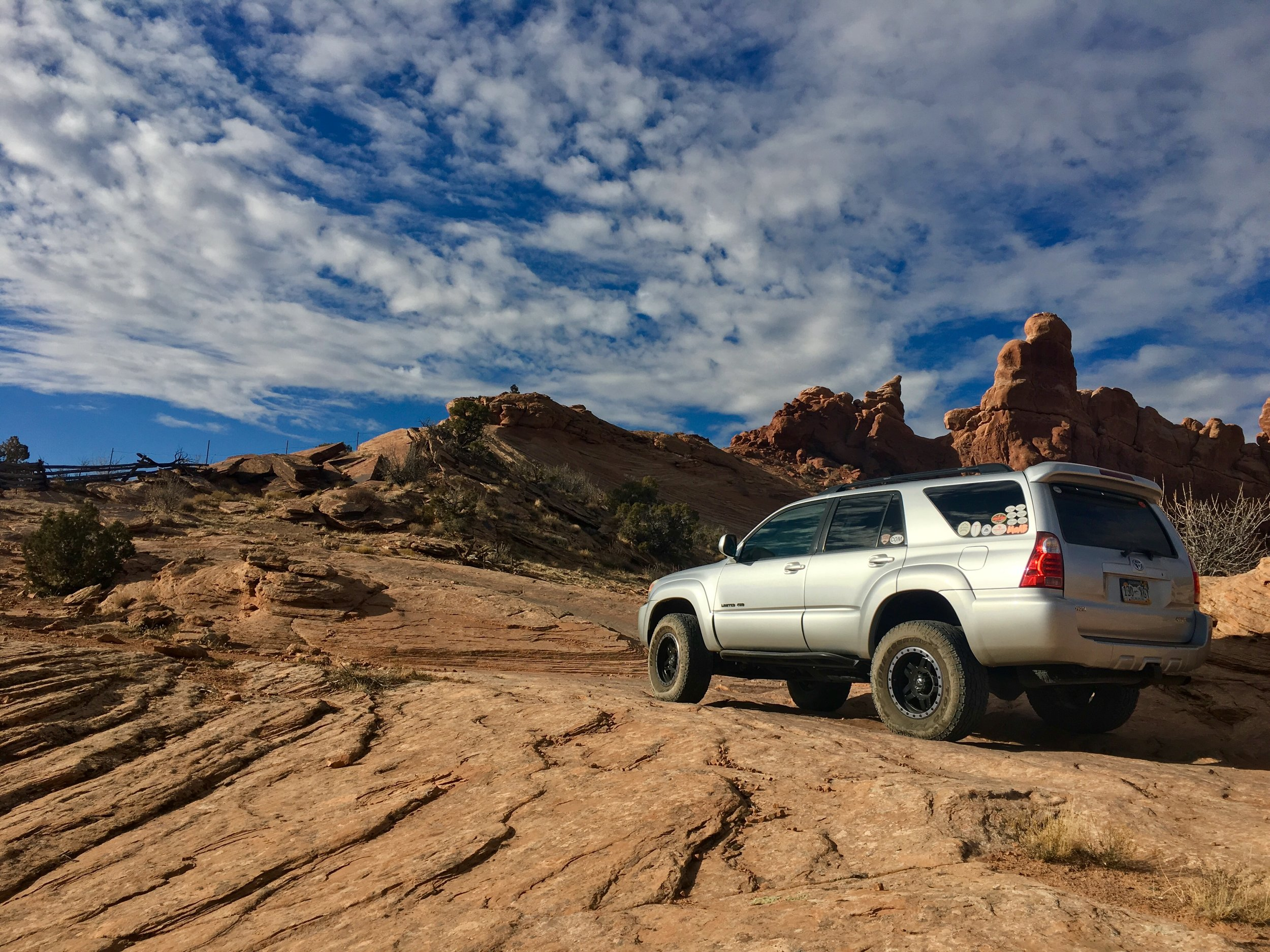 The Toyota 4Runner on the Dome Plateau Trail prior to going through the gate.  Photo courtesy of Debbie Tubridy / TNWA Photograph