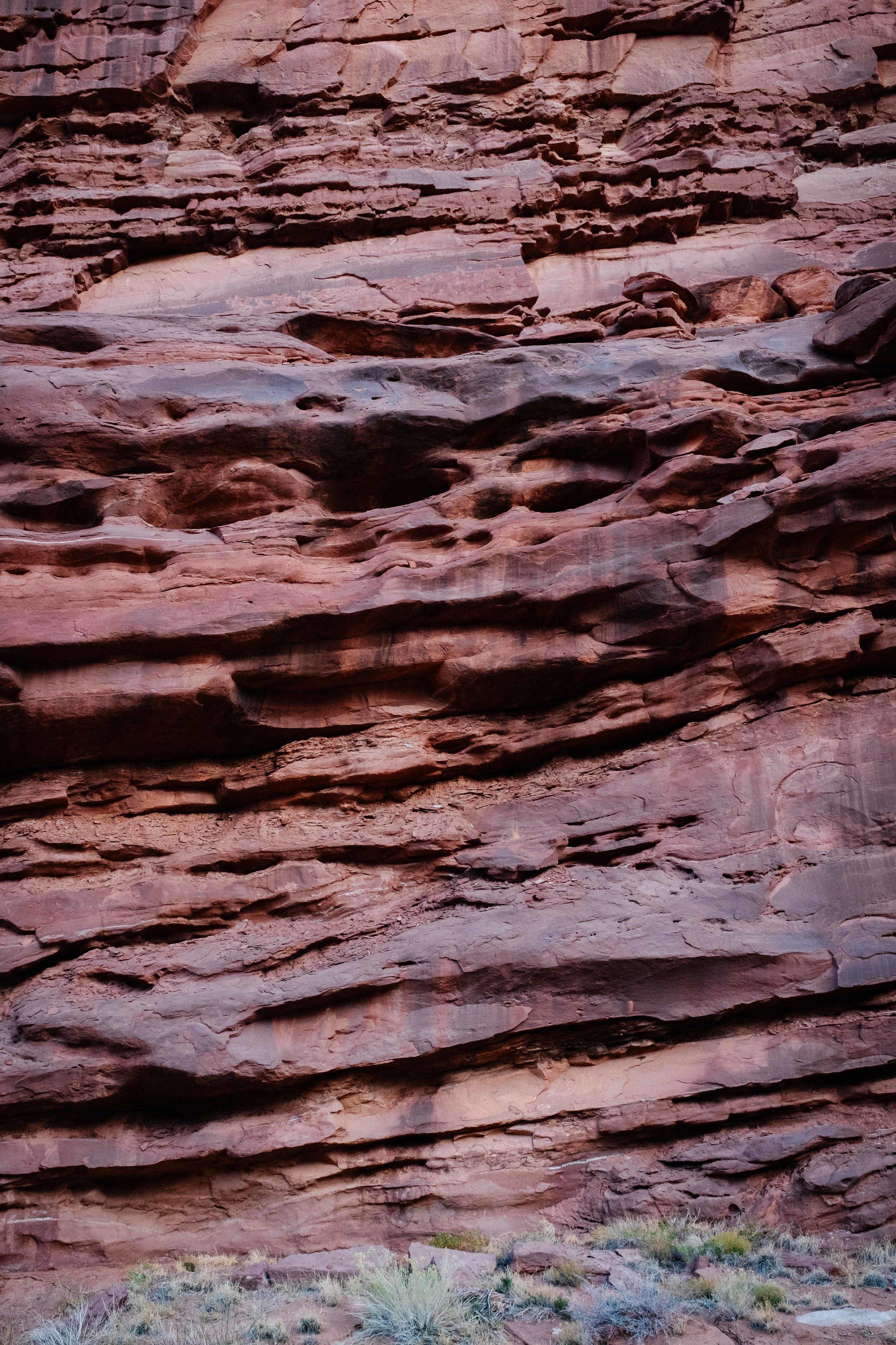 Textures of the canyon walls along Onion Creek Road. Fuji X100F