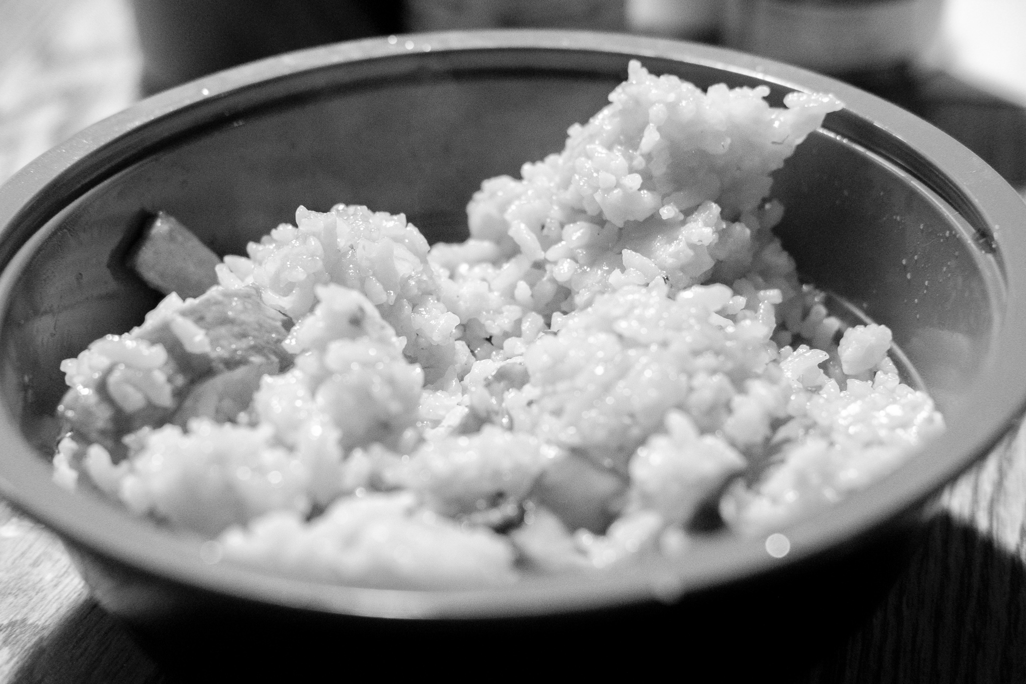 365 Day Black and White Challenge - Day 5 - Mushrooms and Rice  - Fuji XT-2, XF 35mm f/2