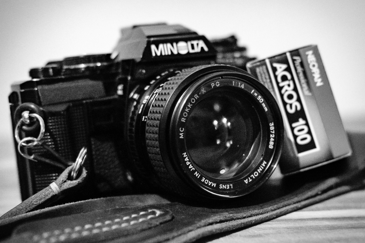 Day 19 - 365 Day B&W Photo Challenge - This film camera was my first camera purchase back in college - The Minolta X-700. I acquired the 50mm f/1.4 from my brother and this along with Fujifilm Neopan Acros 100 has become one of my favorite combinations. I wish that Neopan was still being produced. I'm no starting to embrace grain. I've turned the noise on my Fuji camera's to -4 so it's not doing any noise reduction and am quite enjoying how the noise shows up on images like a nice film grain. - Fuji XT2, XF35mm f/2, Acros Film Simulation, ISO 6400.