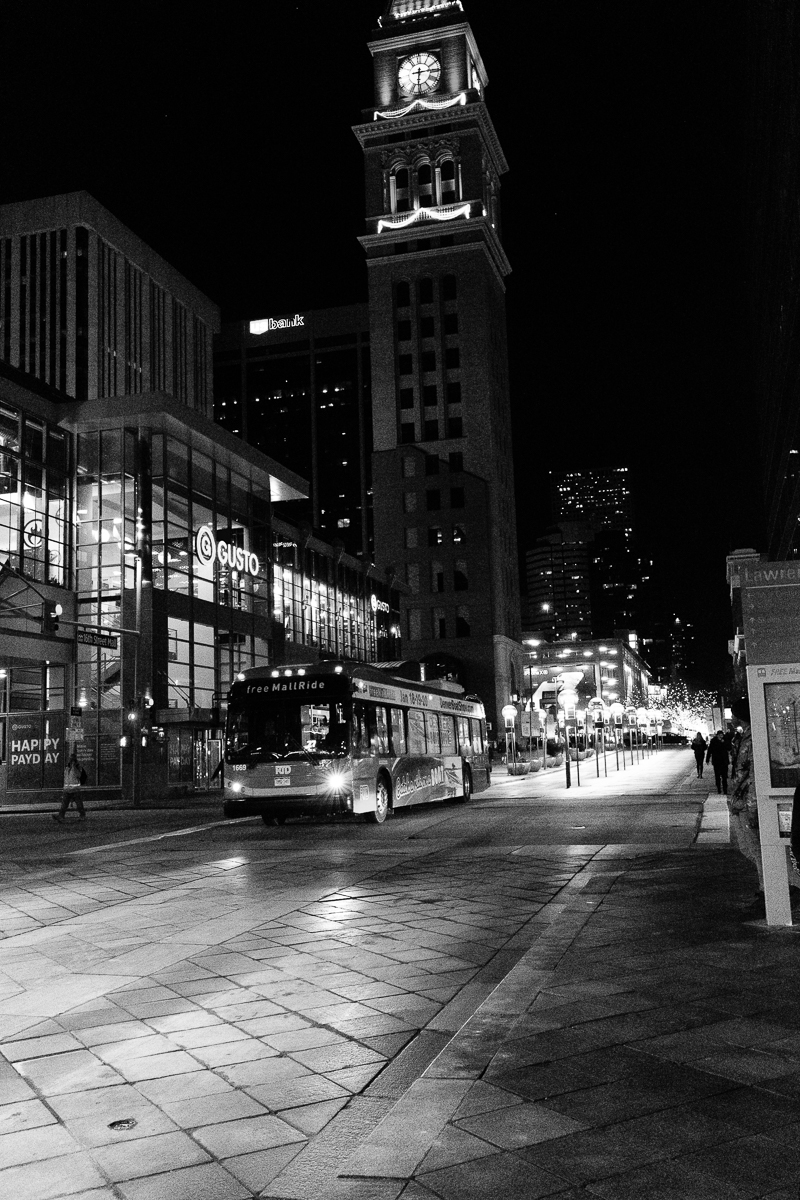 16th Street Mall Shuttle with the Denver Clock Tower in the background