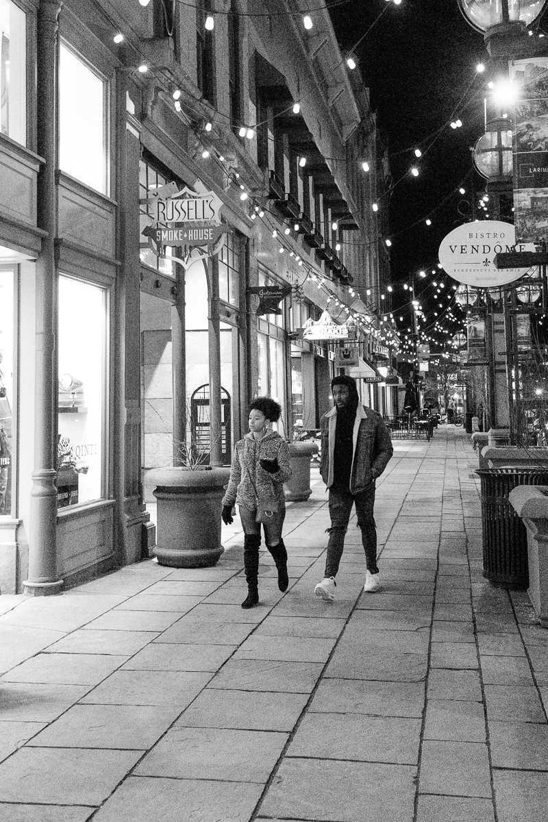 Walking past the smells of Russell's Smokehouse in Larimer Square
