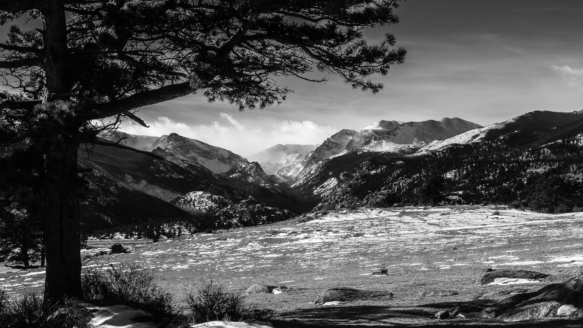 Day 29 - 365 Day B&W Photo Challenge - Views from Moraine Park of Stones Peak and Spruce Canyon in Rocky Mountain National Park. - Fuji XT3, XF35mm f/2, Acros R Film Simulation