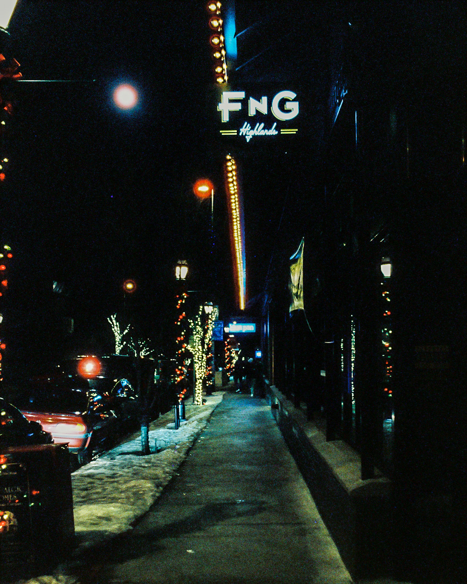 Lights leading down FNG Restaurant in the Highlands