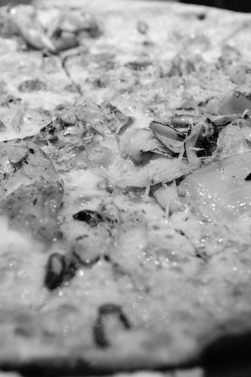 Day 36 - 365 Day B&W Photo Challenge - Succulent view of an artichoke pizza - Fuji X100F, Acros R Film Simulation
