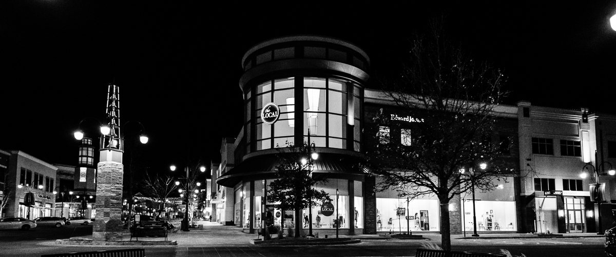 Day 39 - 365 Day B&W Photo Challenge - Cinematic view of Southlands Mall - Fuji XT-2, XF14mm f/2.8, Acros R Film Simulation