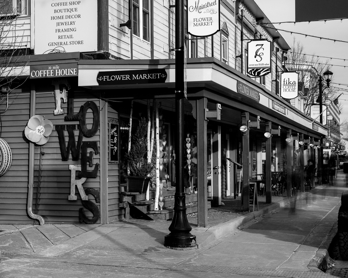 Day 47 - 365 Day B&W Photo Challenge - Long exposure of Main Street in Parker, Colorado, Fuji XT-3, 35mm f/2 , Acros R Film Simulation, Lee 10 Stop Filter