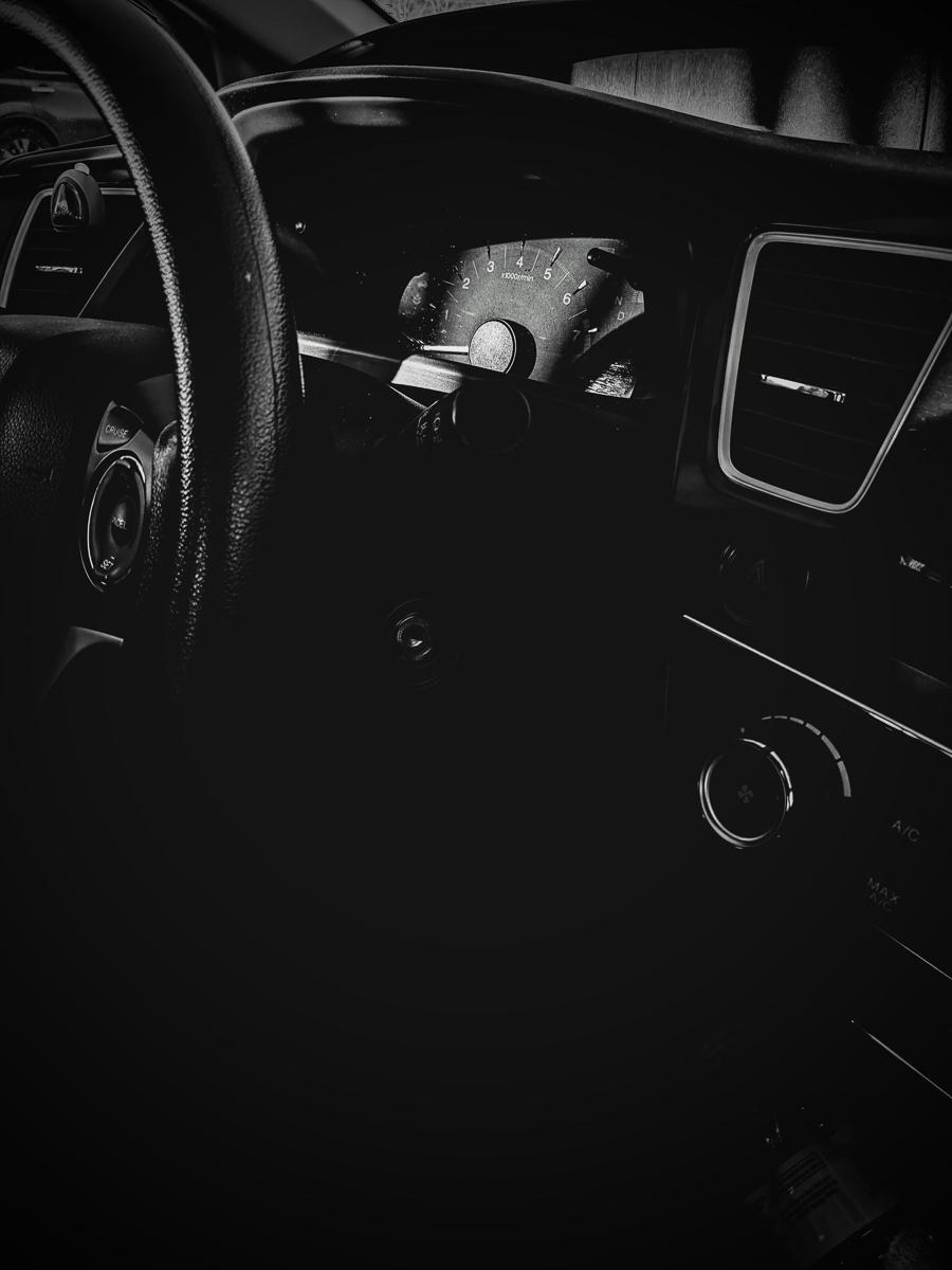 Day 52 - 365 Day B&W Photo Challenge - Sunlight hitting the dash of a Honda Civic - Google Pixel 3,VSCO B1