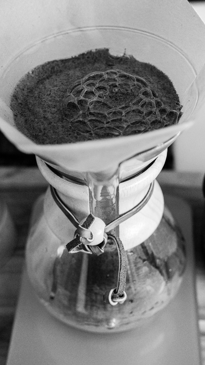 Day 61- 365 Day B&W Photo Challenge - Allowing the Chemex brew to bloom to eliminate the carbon dioxide which causes the sour taste in coffee - Fuji XT2, XF 35mm f/2, Acros R Film Simulation