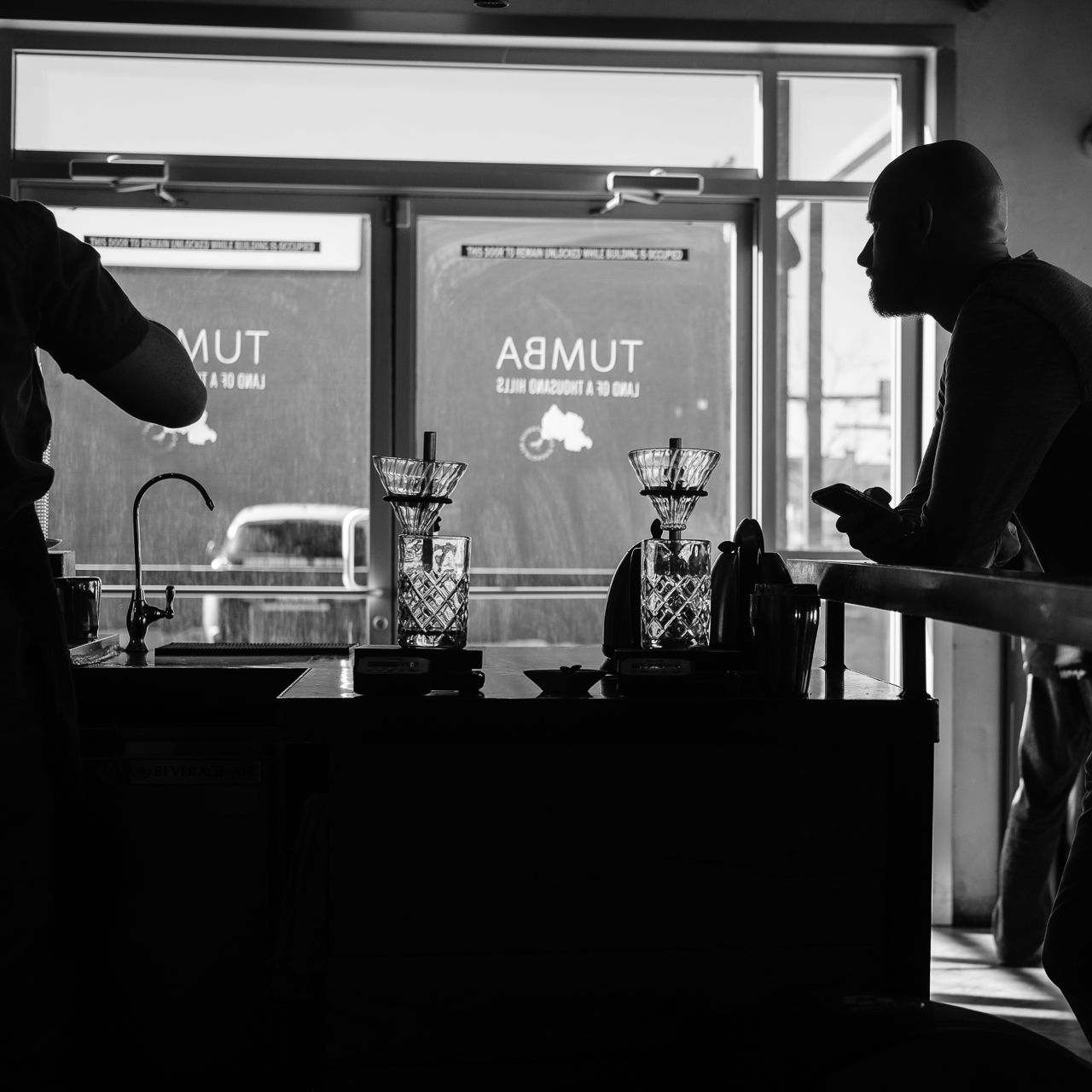 Day 71 - 365 Day B&W Photo Challenge - Waiting for Coffee at Corvus Coffee Roasters on South Broadway in Denver, Colorado - Fuji XT-3, XF 35mm f/2, Acros Y Film Simulation