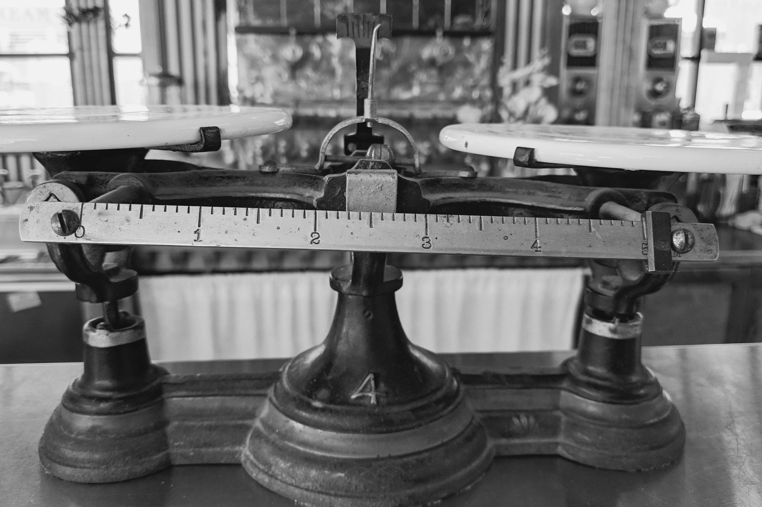 Day 80- 365 Day B&W Photo Challenge - Antique Balance Scale. Google Pixel 3, VSCO B3 Preset