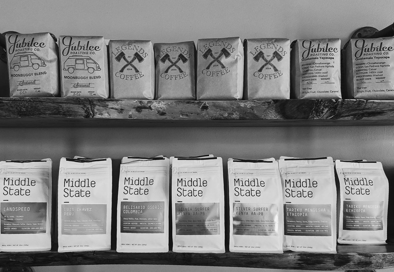 Day 87 - 365 Day Black and White Photo Challenge - Fresh coffee beans at Legend's Coffee - Google Pixel 3, VSCO B3 preset