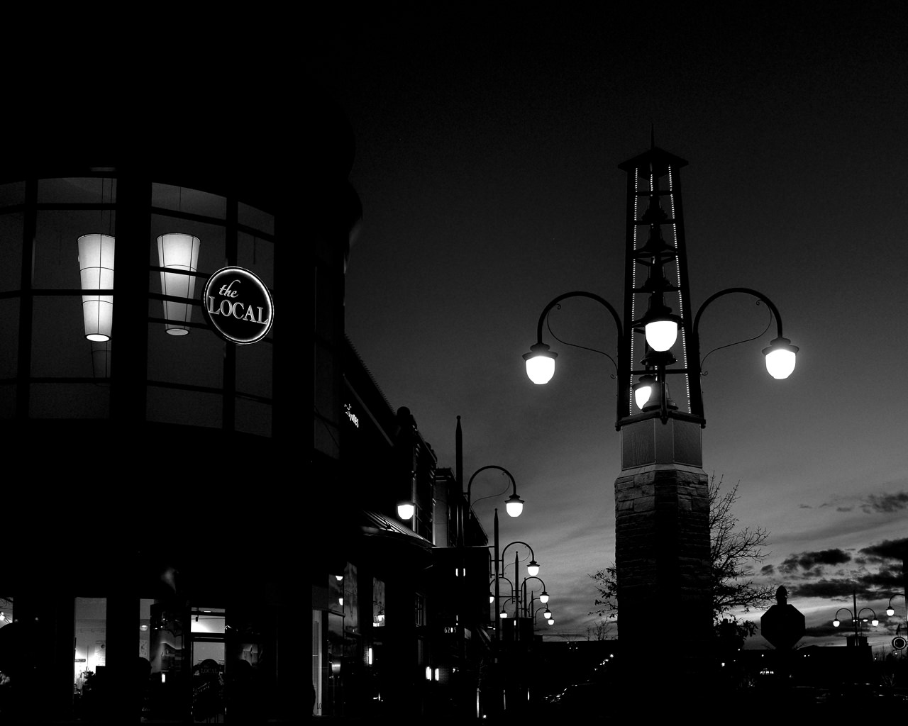 Day 97- 365 Day B&W Photo Challenge - The street lights of Southlands illuminate as the last light of sunset fade from the evening sky - Fuji X100F, Acros R Film Simulation