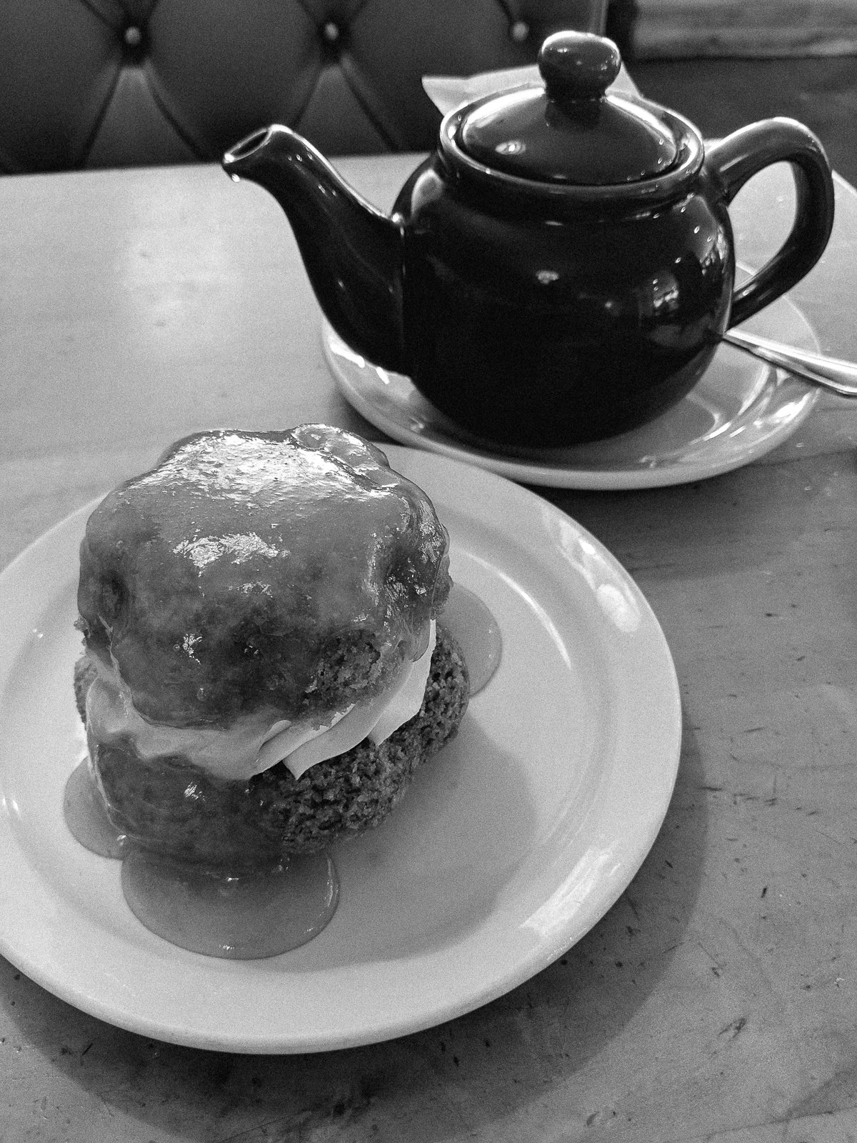 Day 135- 365 Day B&W Photo Challenge - Afternoon Tea at the Tasty Harmony in Fort Collins - Google Pixel 3, VSCO Ilford HP5 Preset
