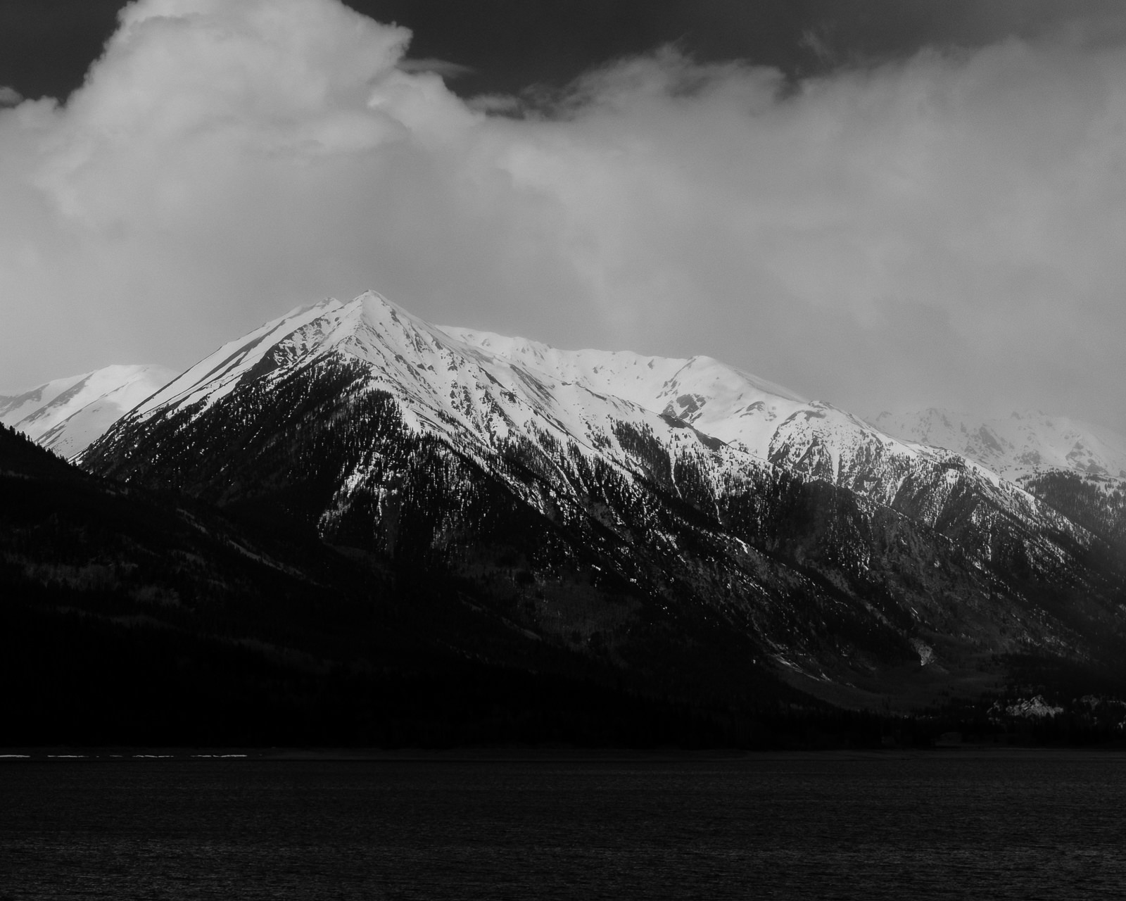 Day 144- 365 Day B&W Photo Challenge - A view of Mt. Elbert from Twin Lakes near Leadville, Colorado - Fuji X-T3, XF 50-140mm f/2.8, Acros R Film Simulation