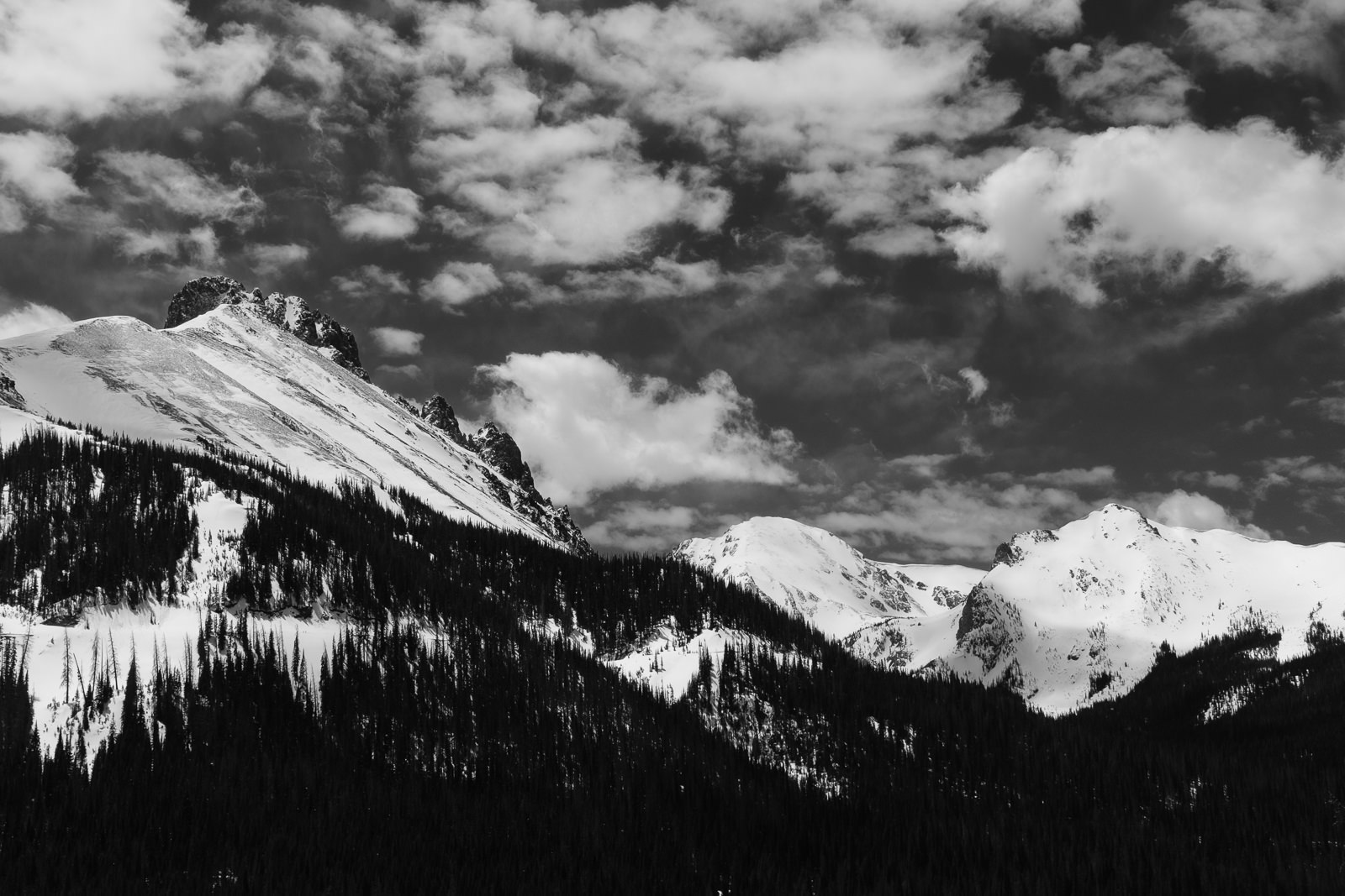 Day 149- 365 Day B&W Photo Challenge - The Nokhu Crags and Never Summer Mountain Range viewed from Poudre Canyon. This is the NW side of Rocky Mountain National Park. - Fuji X-T3, XF23mm f/2, Acros R Film Simulation