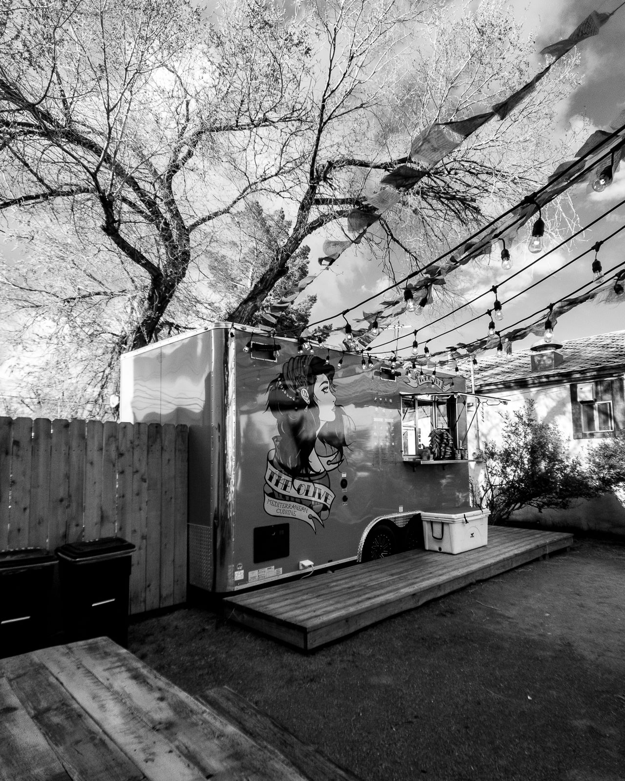 Day 151- 365 Day B&W Photo Challenge - The Olive Food Cart in Buena Vista, Colorado - Google Pixel 3, Moment Tele Lens - Acros R Film Simulation