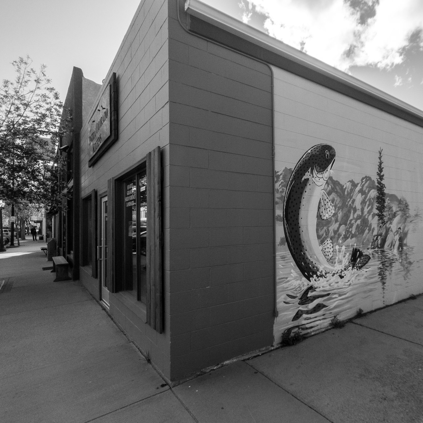 Day 152- 365 Day B&W Photo Challenge - Fishing is one of the great activities in the Arkansas River Valley highlighted with this street art in Buena Visat, Colorado - Google Pixel 3, Moment Tele Lens - Acros R Film Simulation