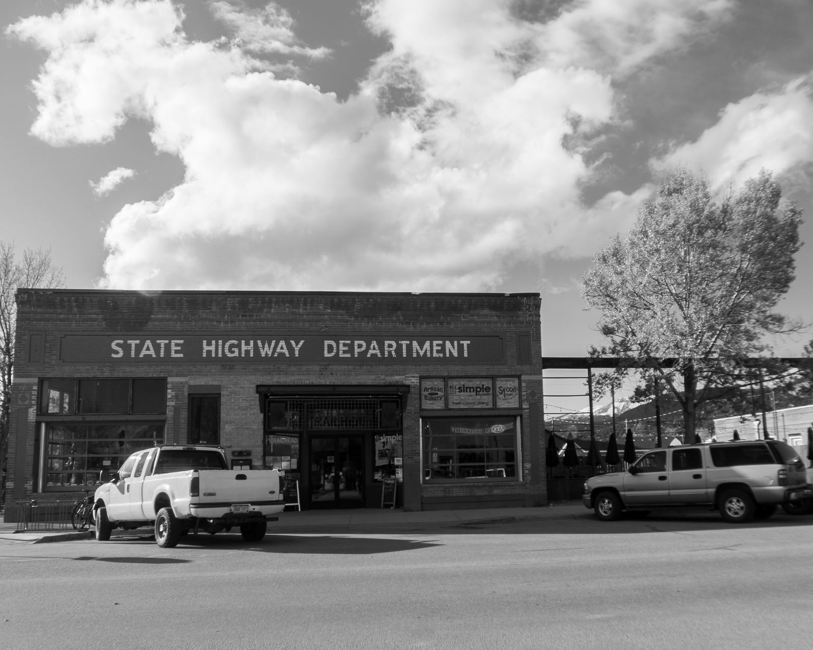 Day 153- 365 Day B&W Photo Challenge - The Historic State Highway Department Building in Buena Vista, Colorado - Google Pixel 3, Moment Tele Lens - Acros R Film Simulation