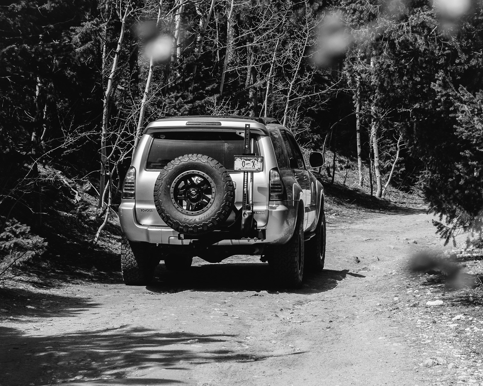 Day 155- 365 Day B&W Photo Challenge - 4Runner out on the trails in the Indian Peaks Wilderness - Fuji X-T3, XF50-140mm f/2.8, Acros R Film Simulation