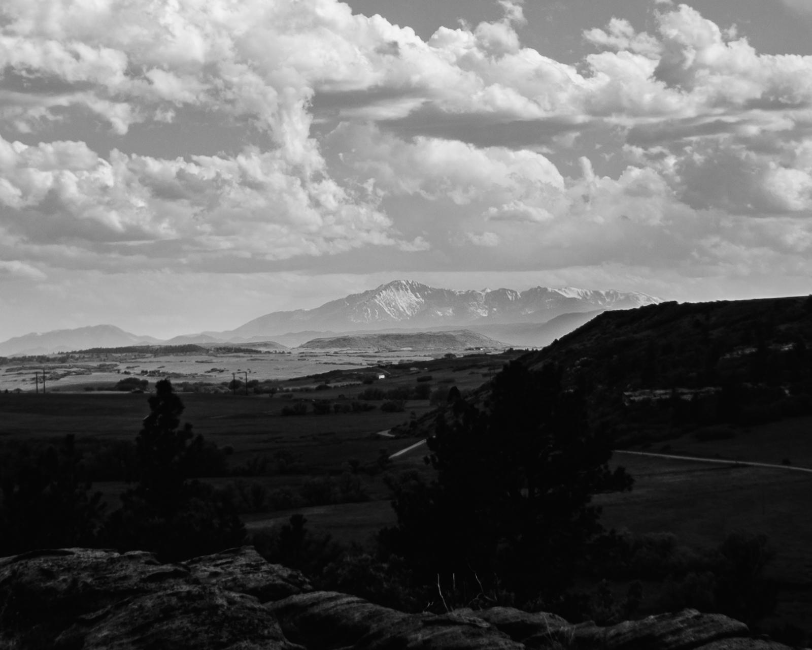 Day 161- 365 Day B&W Photo Challenge - Views of Pikes Peak through Castlewood Canyon. - Google Pixel 3, Moment Tele Lens, VSCO Fujifilm Neopan 400 Simulation