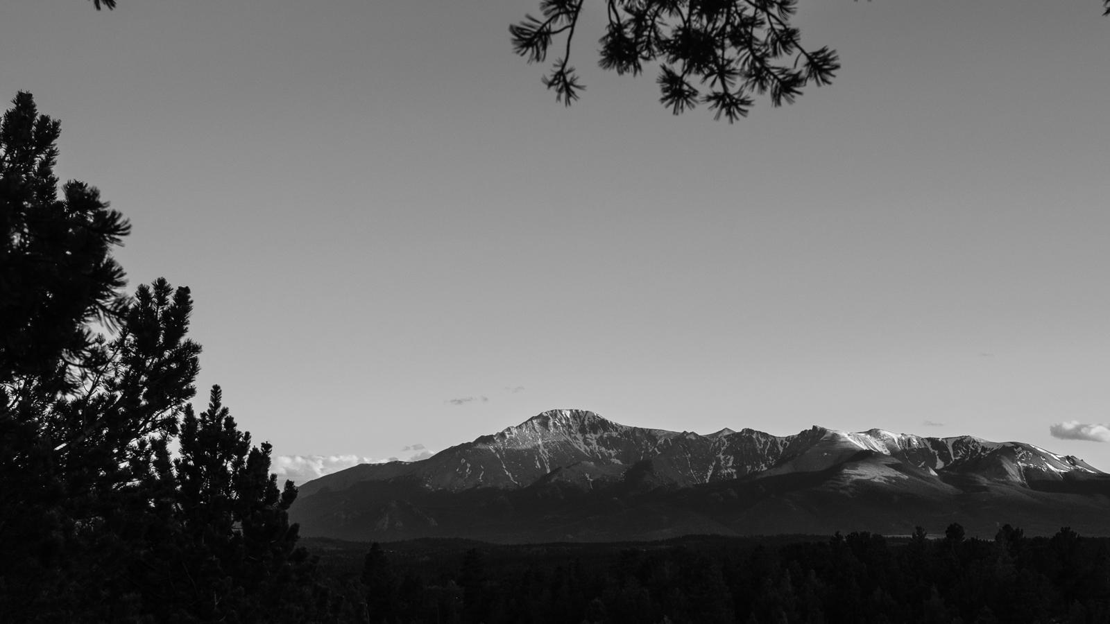 Day 175 - 365 Day B&W Photo Challenge - Sunset views of Pikes Peak from Rampart Range-  Fujifilm X-T3, XF 50-140mm f/2.8, Acros R Film Simulation