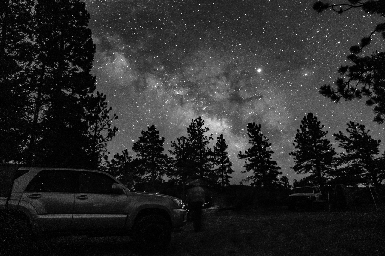 Day 180 - 365 Day B&W Photo Challenge - Under the Milky Way at camp. - Fujifilm X-T3, XF 14mm f/2.8, Acros R Film Simulation