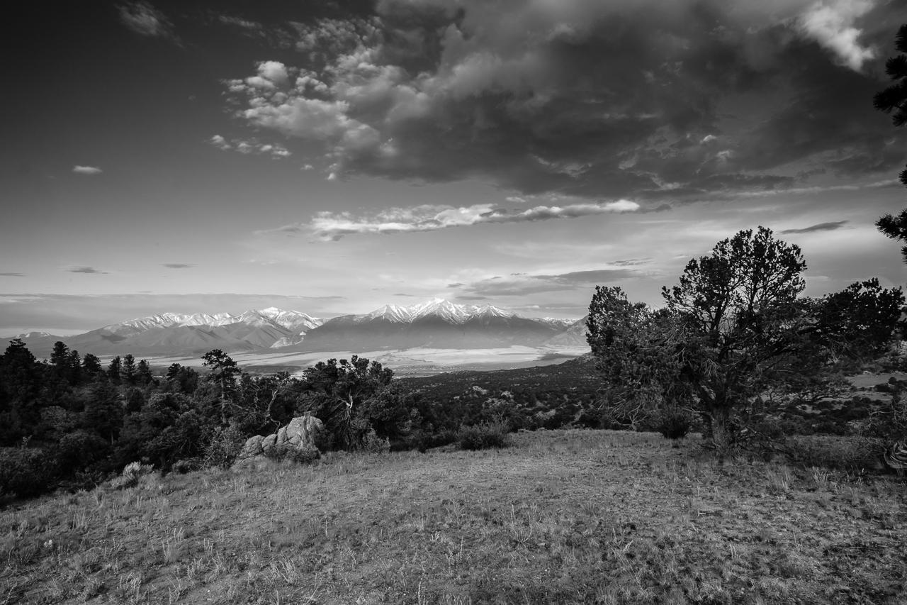 Day 182 - 365 Day B&W Photo Challenge - Morning Sunrise over the Collegiate Peaks. - Fujifilm X-T3, XF 14mm f/2.8, Acros R Film Simulation