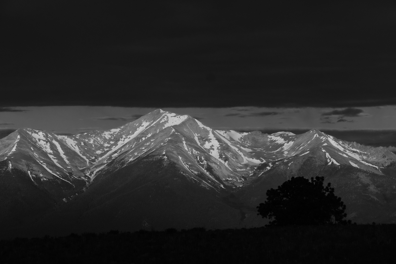 Day 183 - 365 Day B&W Photo Challenge - Low morning cloud cover framed the morning sunlight on Mt. PrincetonSunrise. - Fujifilm X-T3, XF 50-140mm f/2.8, Acros R Film Simulation
