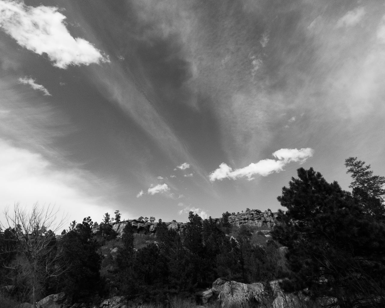 Day 197 - 365 Day B&W Photo Challenge - Streams across the sky. - Google Pixel 3, Moment Wide Lens, Adobe Lightroom Mobile Edit