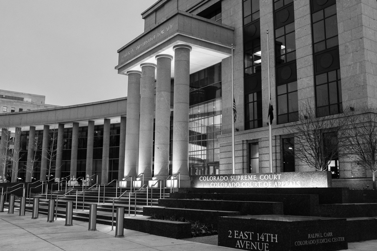 Day 202 - 365 Day B&W Photo Challenge - The Ralph L. Carr Colorado Judicial Center - Fuji X100F, Acros R Film Simulation