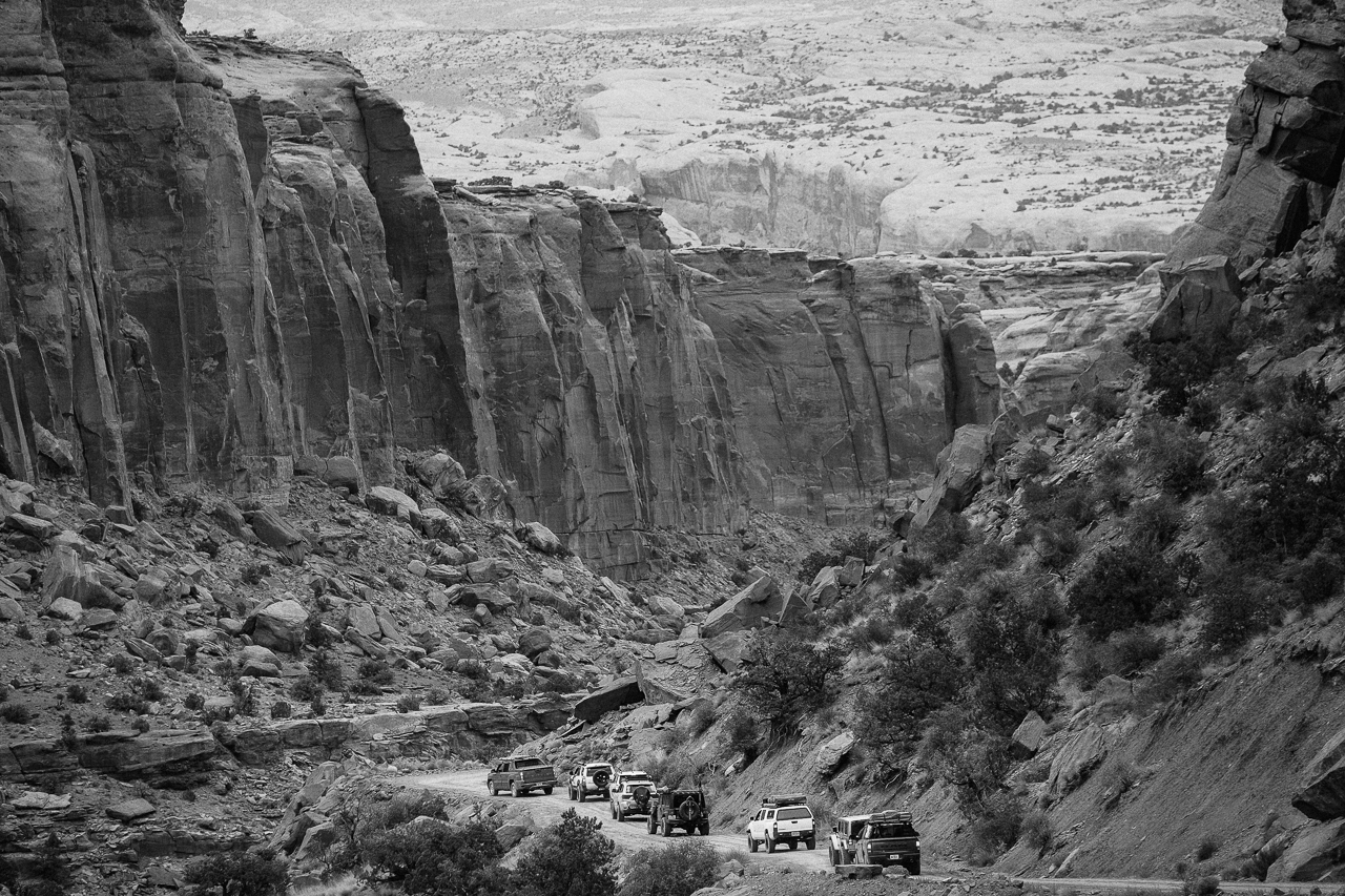 Day 221- 365 Day B&W Photo Challenge - Expedition crew heading deep into the canyons of the southwest desert. - Fuji X-T3, XF 14mm f/2.8, Acros  R Film Simulation