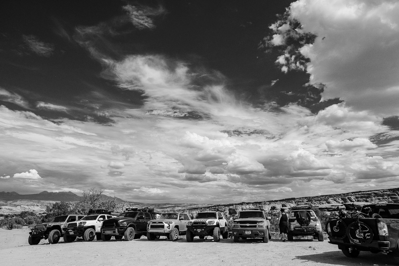 Day 219 - 365 Day B&W Photo Challenge - The expedition crew of trucks traveling the desert southwest. - Fuji X-T3, XF 14mm f/2.8, Acros  R Film Simulation