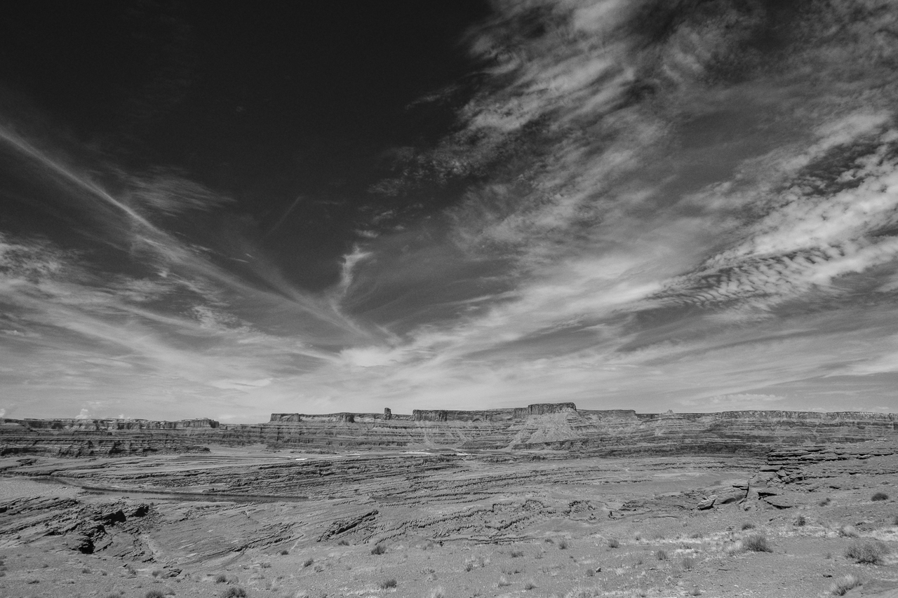 Day 208 - 365 Day B&W Photo Challenge - The huge expansive plateau view from Hurrah Pass. - Fuji X-T3, XF 14mm f/2.8, Acros R Film Simulation