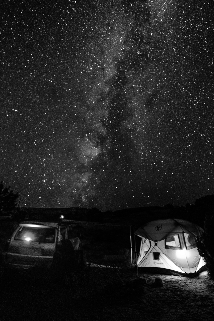 Day 209 - 365 Day B&W Photo Challenge - The Milky Way settles over camp for the evening. - Fuji X-T3, XF 14mm f/2.8, Acros  G Film Simulation