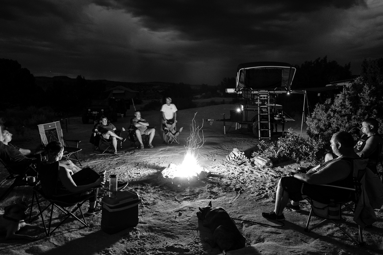 Day 204 - 365 Day B&W Photo Challenge - Enjoying the campfire with friends after a long day of travel - Fuji X-T3, XF 14mm f/2.8, Acros Film Simulation