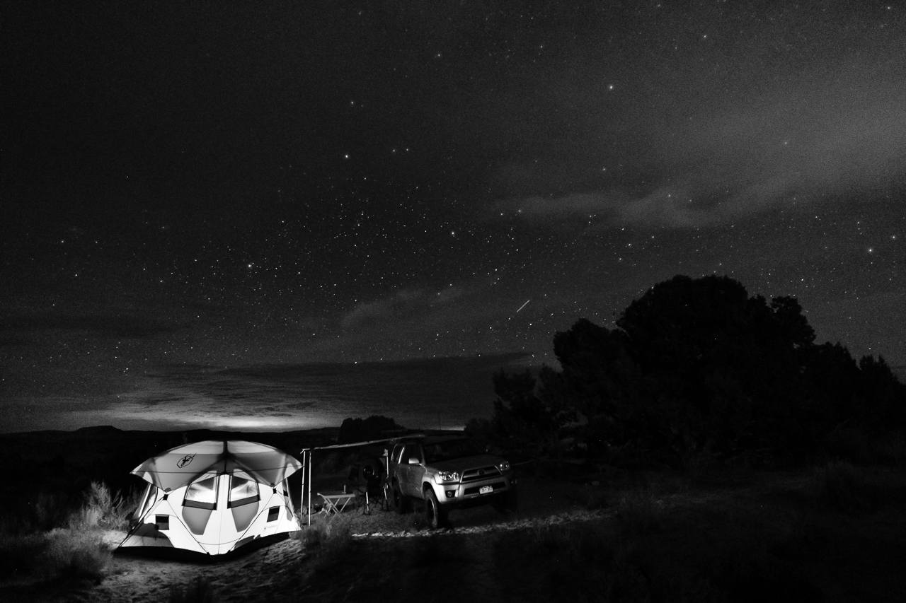 Day 225- 365 Day B&W Photo Challenge - Stars fill the night sky over camp. - Fuji X-T3, XF 14mm f/2.8, Acros Ye Film Simulation