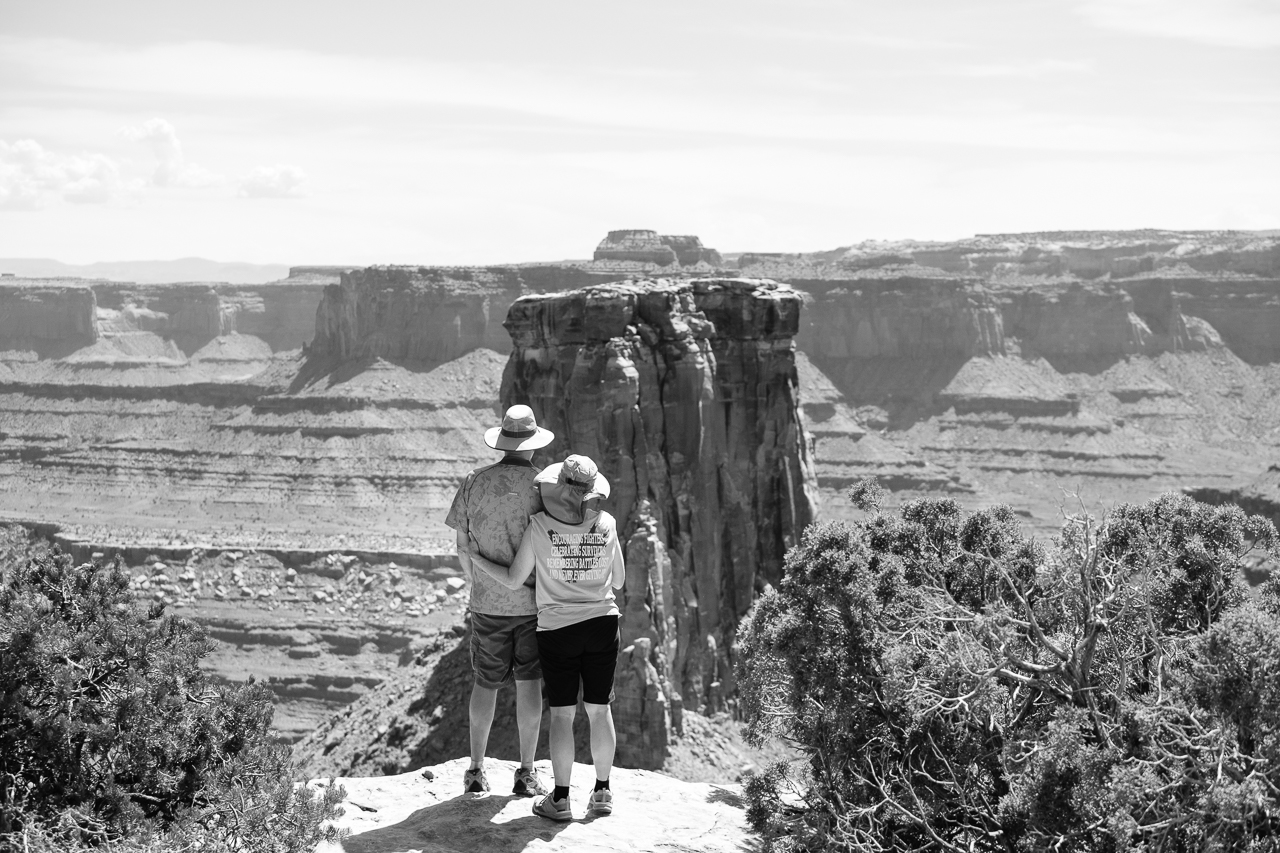 Day 226- 365 Day B&W Photo Challenge - Brad and Chris enjoy the views of adventure together as companions for life. - Fuji X-T3, XF 50-140mm f/2.8, Acros R Film Simulation