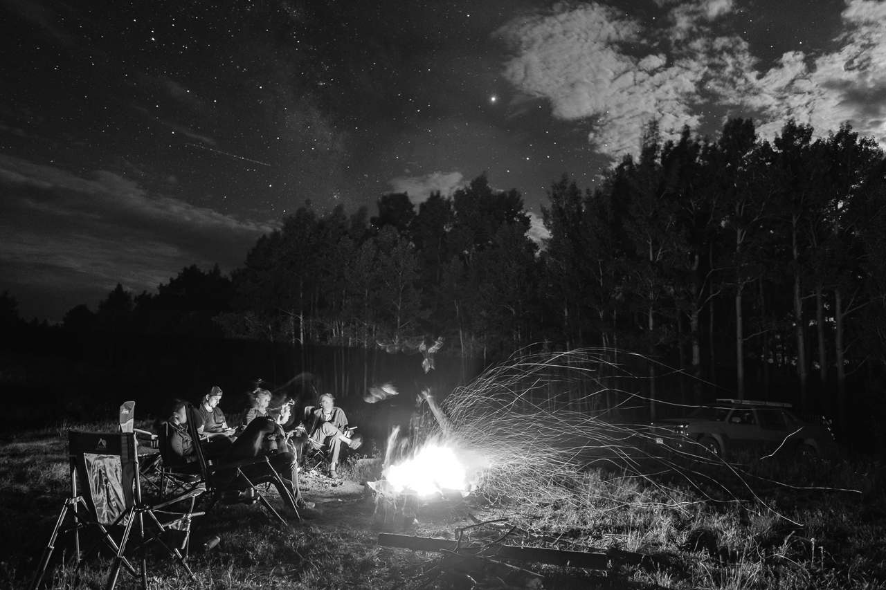 Day 227- 365 Day B&W Photo Challenge - Enjoying a campfire on a cool evening in the San Juan Mountains. - Fuji X-T3, XF 14mm f/2.8, Acros G Film Simulation